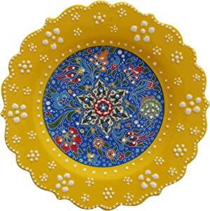 Ayennur Turkish Decorative Plate Handmade Ceramic Ornament for Home&Office Hanging Wall Decor (Yellow)