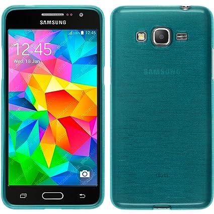 PhoneNatic Carcasa de Silicona Azul para Samsung Galaxy Grand Prime, Acabado Cepillado, con 2 Protectores de Pantalla