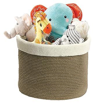 mDesign - Recipiente organizador tejido para el armario de la guardería/del cuarto del bebé; guarda peluches, juguetes, sábanas, toallas - grande ...