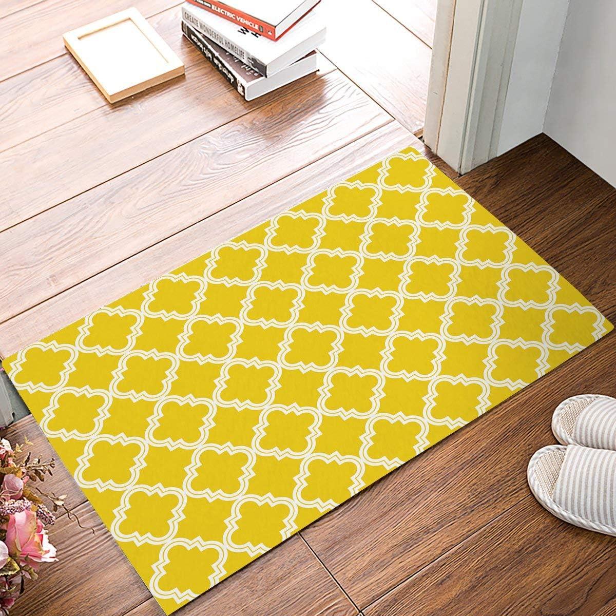 SIMIGREE 9 x 9 Inch Modern Yellow and White Lattice Door Mats Kitchen  Floor Bath Entrance Rug Mat Absorbent Indoor Bathroom Decor Doormats Rubber  ...