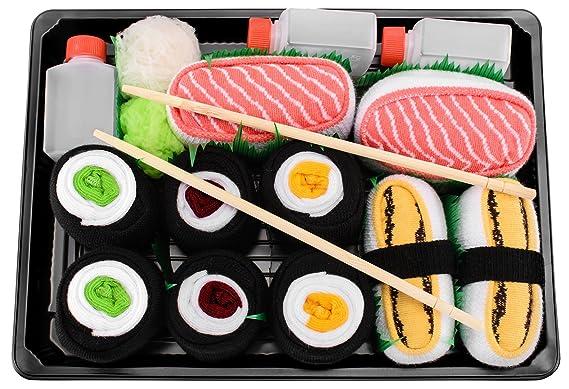 Sushi Socks Box - 5 pares de CALCETINES: Tamago, Salmón, Maki de Atún, Pepino y Oshinko - REGALO DIVERTIDO, Algodón de alta Calidad Tamaños 41-46, ...