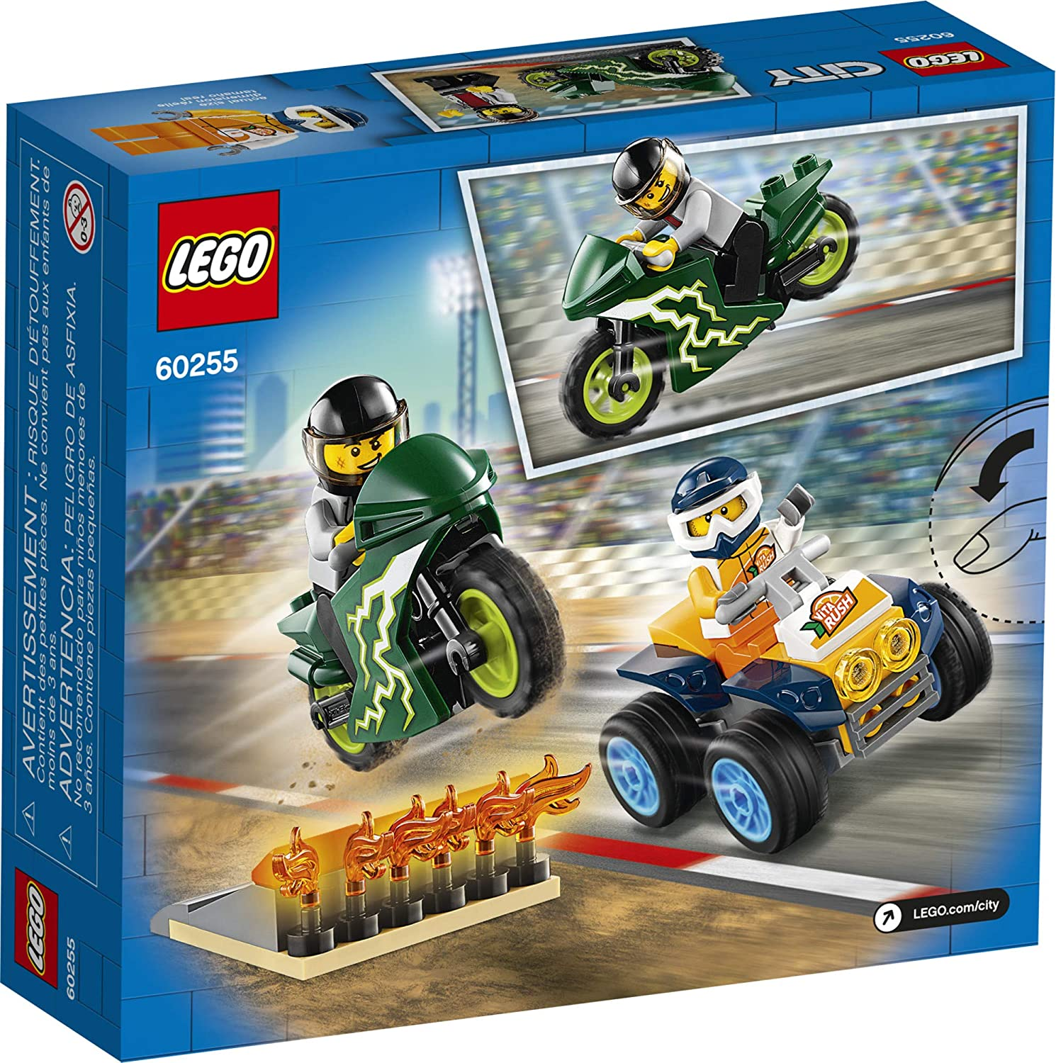 New 2020 62 Pieces Cool Building Set for Kids LEGO City Stunt Team 60255 Bike Toy