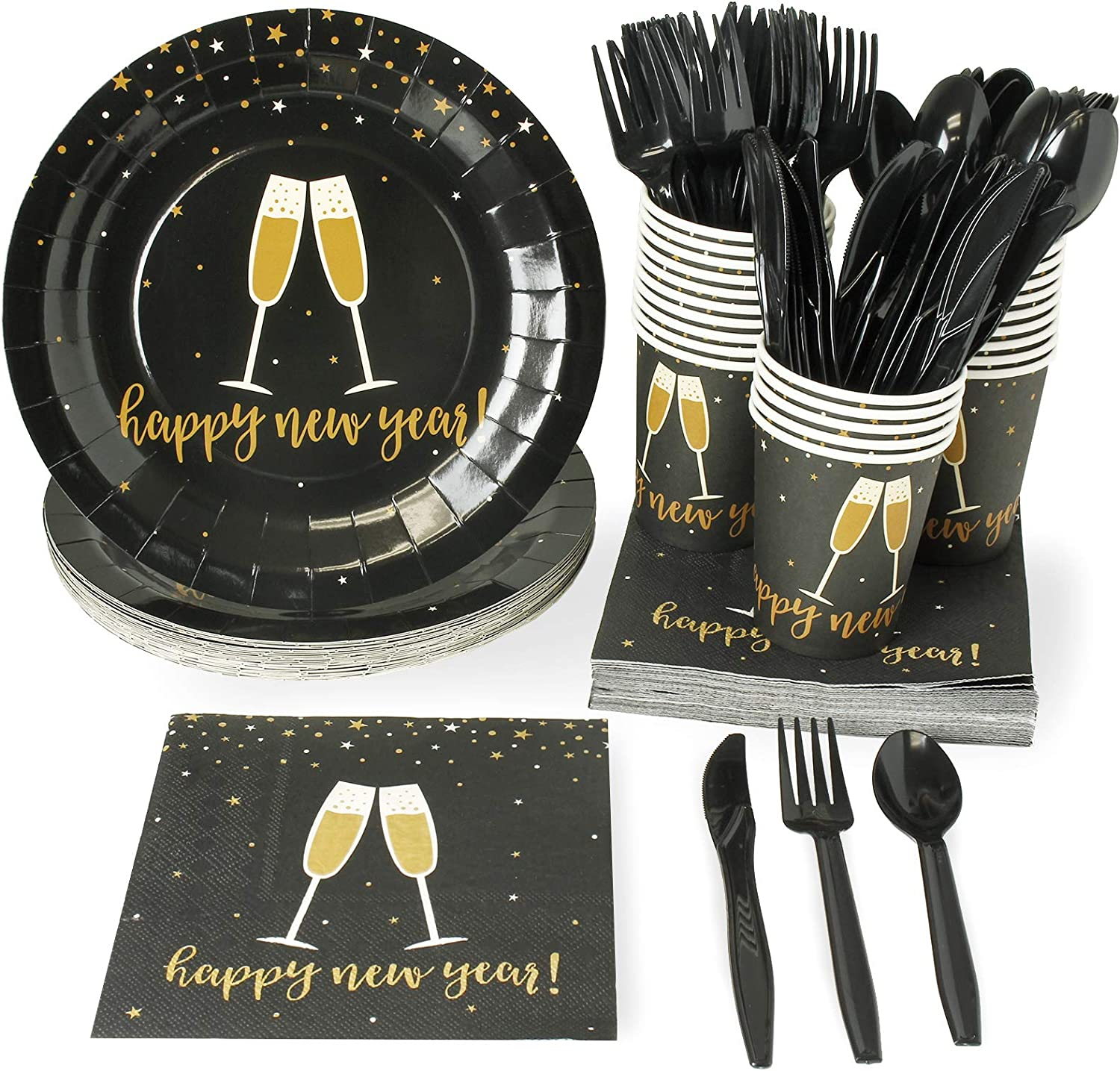 New Year's Eve Party Bundle, Includes NYE Plates, Napkins, Cups, Cutlery (24 Guests,144 Pieces)
