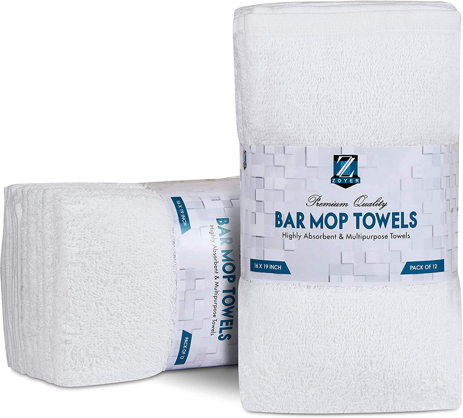 Zoyer Bar Mops Kitchen Towels 12 Pack - Pure Cotton Kitchen Towels Super Absorbent (16 X 19 Inches, White)