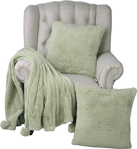 Home Soft Things Pompom Faux Fur Pillow Combo Set, 50 x 60 , Sage