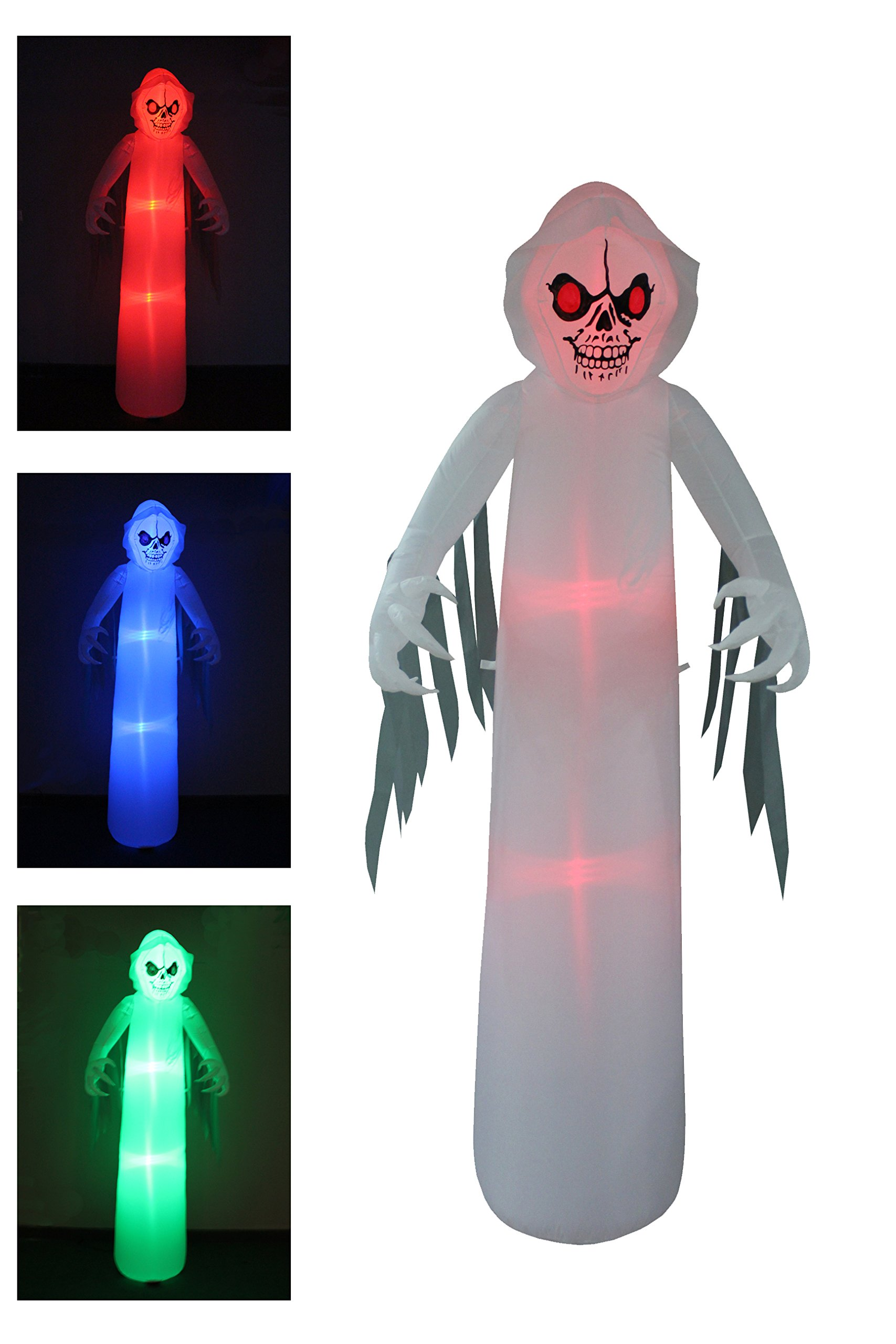 8 Foot Tall Lighted Halloween Inflatable Ghost Monster with Color Changing LEDs Party Decoration for Outdoor Indoor Holiday Decorations, Blow Up LED Lighted Christmas Yard Decor, Giant Lawn Inflatable
