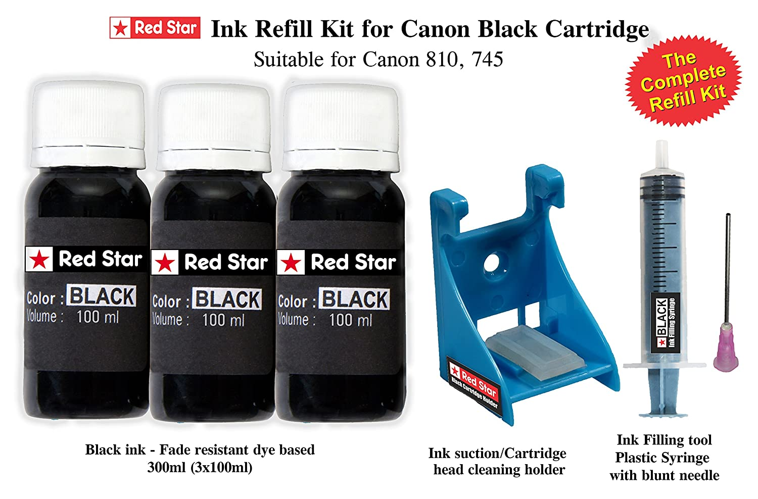 Red Star Refill Kit For Canon Pg 745 810 47 Black Ink Cartridge Cadtrige 300ml Tools Filling And Head Cleaning Computers