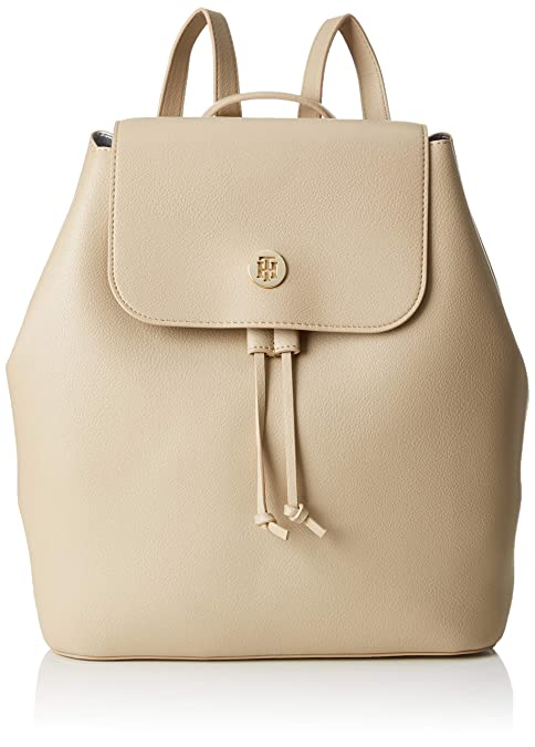 Tommy Hilfiger - Charming Backpack, Mochilas Mujer, Beige (Warmsand&Silvermetal), 15x30.