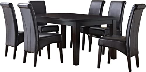 Simpli Home AXCDS7-AVL-BR Avalon Contemporary 7 Pc Dining Set with 6 Upholstered Dining Chairs in Tanners Brown Faux Leather and 66 inch Wide Table