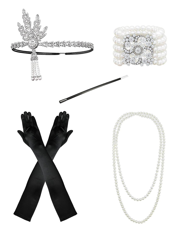 3ea118c9505 1920s Accessories Set Flapper Headpiece Charleston Fancy Dress Accessories  -1920s Flapper Headband Pearl Necklace Satin Gloves