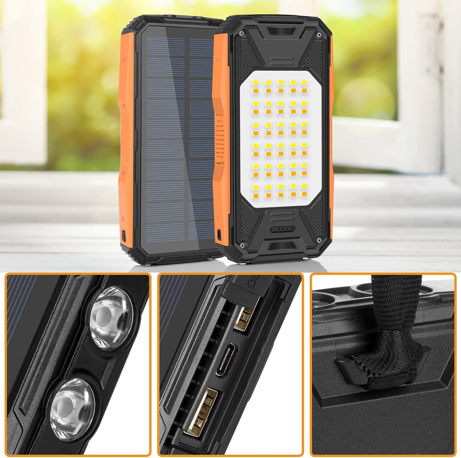 Blue Solar Charger 26800mAh Waterproof External Battery Pack for Camping Outdoor Portable Solar Power Bank USB C PD 18W Fast Charger with Ultra Bright 2 Flashlights and 60 LEDs Panel Light