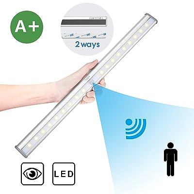 Aglaia Lampe Placard 20 LEDs avec Détecteur de Mouvement, USB Rechargeable Lumière avec Batterie1000mAh pour Placard, Cabinet, Armoire etc (LT-W19)