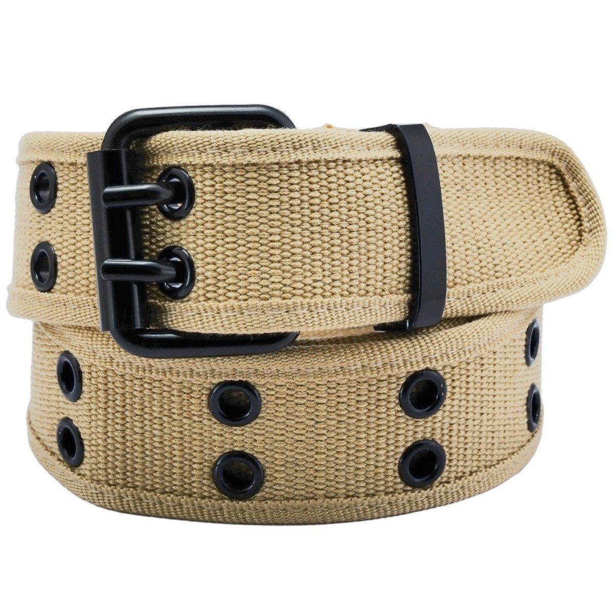 Samtree Canvas Web Belts for Men Women, Double Grommet Hole Buckle Belt Double Grommet Hole Buckle Belt(Brown) AM0263-5