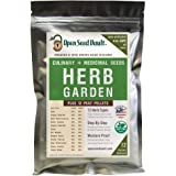 100% Non-GMO Heirloom Culinary and Medicial Herb Kit - 12 Popular Easy-to-Grow Herb Seeds by Open Seed Vault - Includes 12 Se