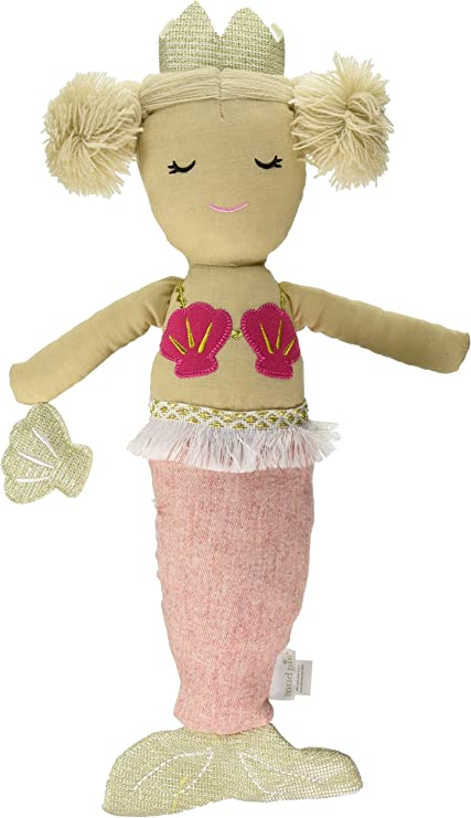 New Mud Pie Girl Light Pink Tail Linen Mermaid Doll