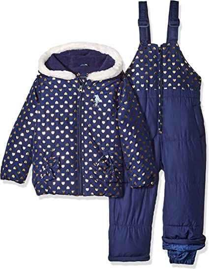 Baby Girls Foil Printed Snowsuit U.S Polo Assn