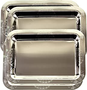Maro Megastore (Pack of 4) 14.2 Inch x 10.2 Inch Oblong Chrome Plated Mirror Serving Tray Stylish Design Floral Engraved Edge Decorative Party Birthday Wedding Dessert Buffet Wine Platter Plate CC-739