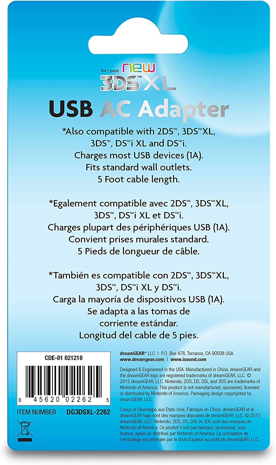 Amazoncom DreamGEAR USB AC Adapter For Your New DS XL And DS - Us zip code nintendo