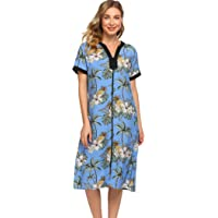 Ekouaer Women Short Sleeve Robes Sleepwear Cotton Lightweight Long Robe V-Neck Floral Front Zipper Nightgown Duster