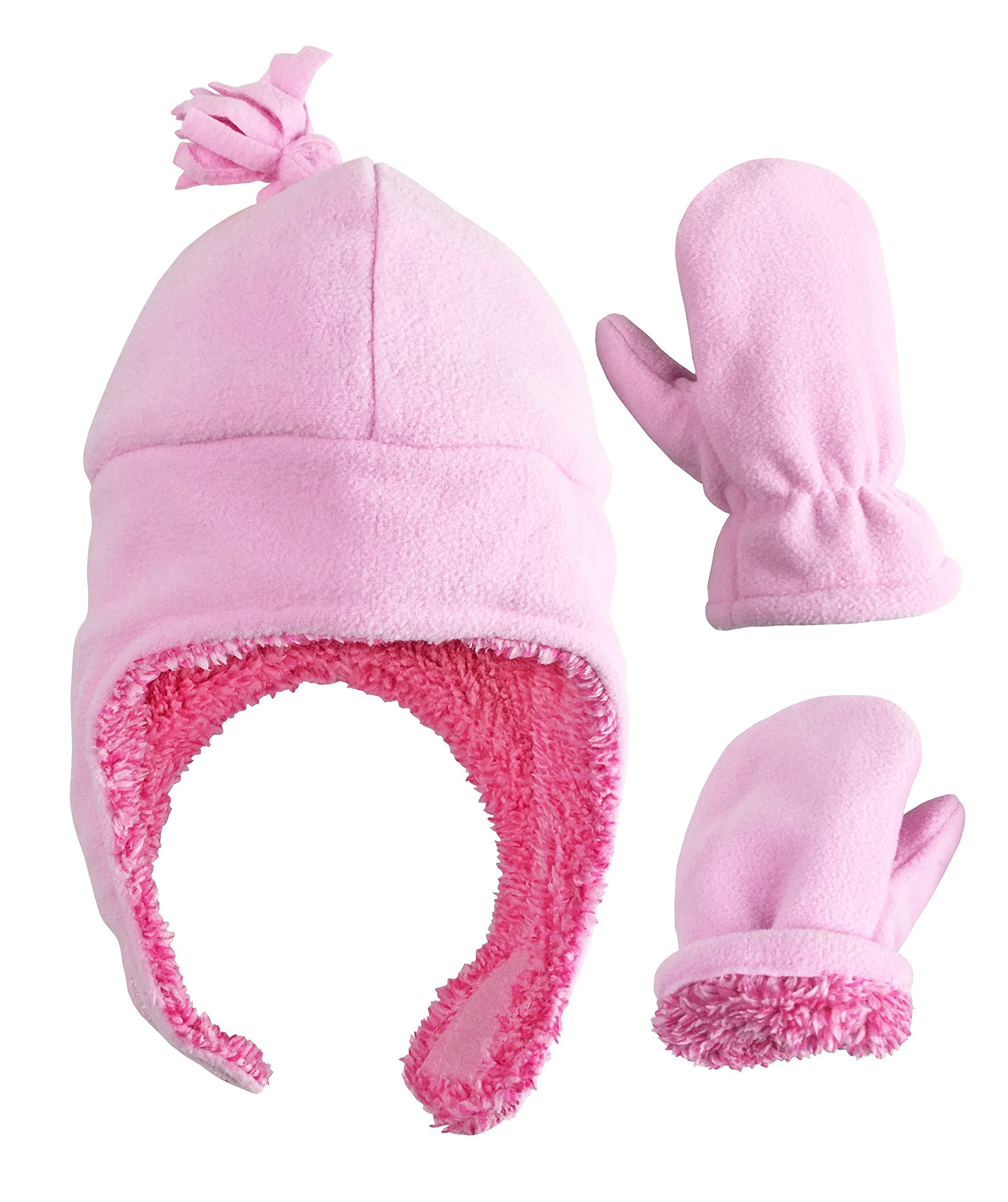 N'Ice Caps Little Girls and Baby Soft Sherpa Lined Micro Fleece Pilot Hat and Mitten Set (Pink 1, 2-3 Years)