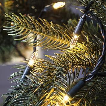 04224f2c46ba9 Lights4fun Guirlande Lumineuse pour Sapin Traditionnelle 150 LED Blanc Chaud