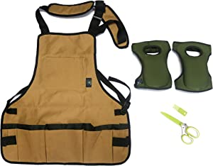 Canvas Garden Apron for Women and Men with 13 Pockets, Cushioned Gardening Knee Pads and Herb Scissors