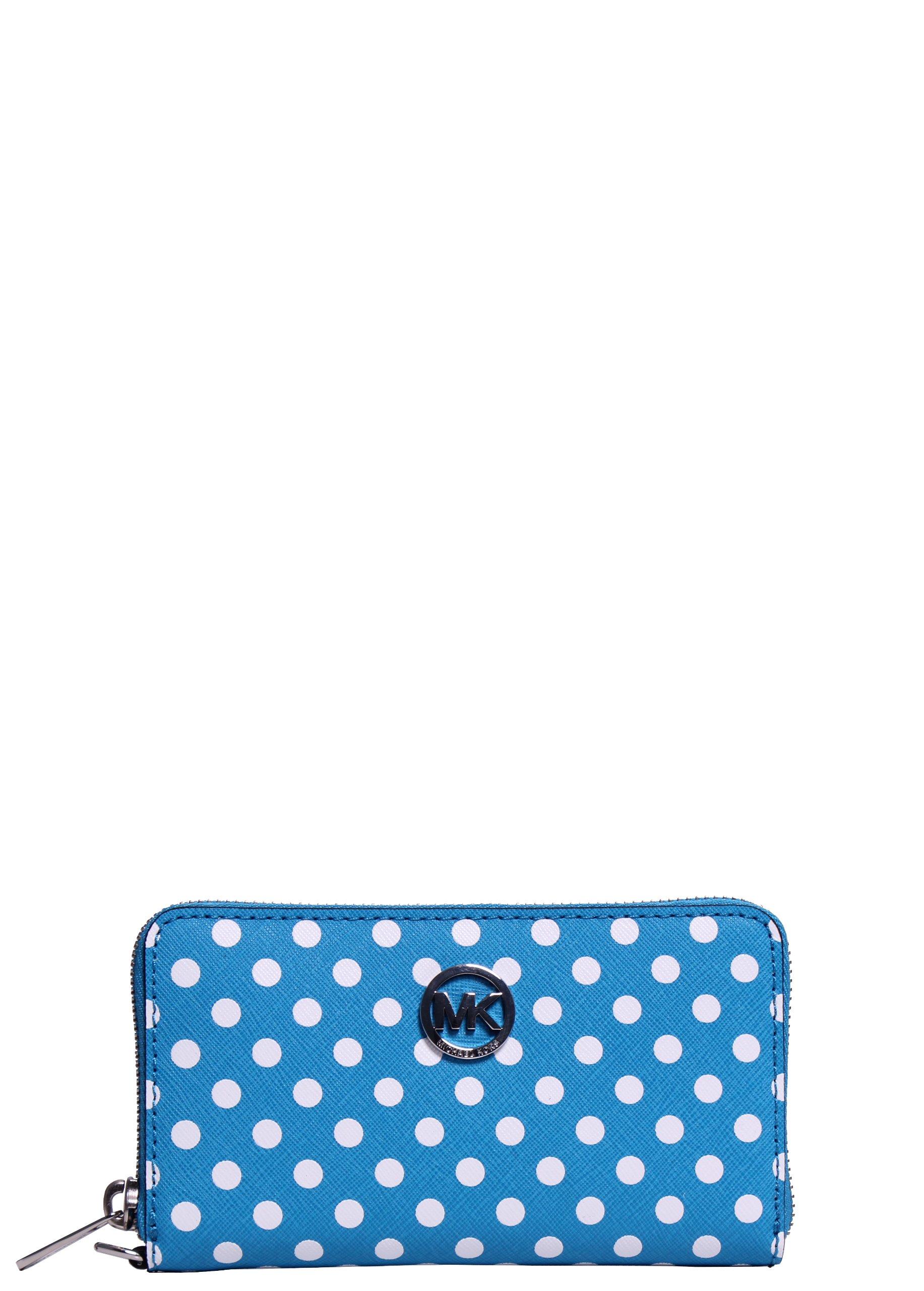 Michael Kors Large Jet Set Travel Dot Multifunction Phone Case Wristlet in Summer Blue