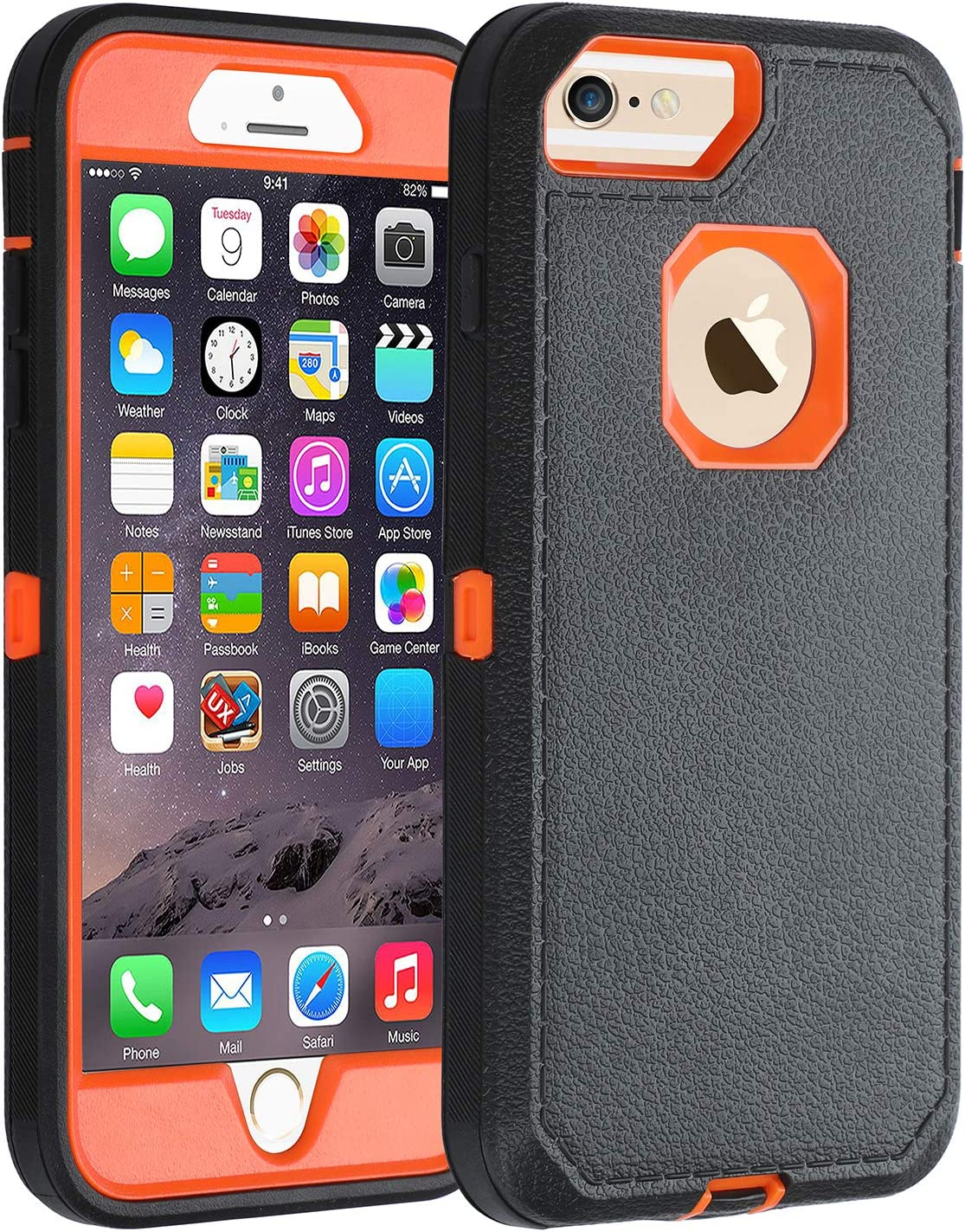 Co-Goldguard Case for iPhone 6s Plus/6 Plus,Heavy Duty [No Screen Protector] 3 in 1 Cover with Screen Bumper Shell for iPhone 6+/6s+ 5.5 inch,Black/Orange