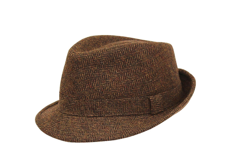 Mens Brown Country Tweed Trilby Fedora Hat BR67