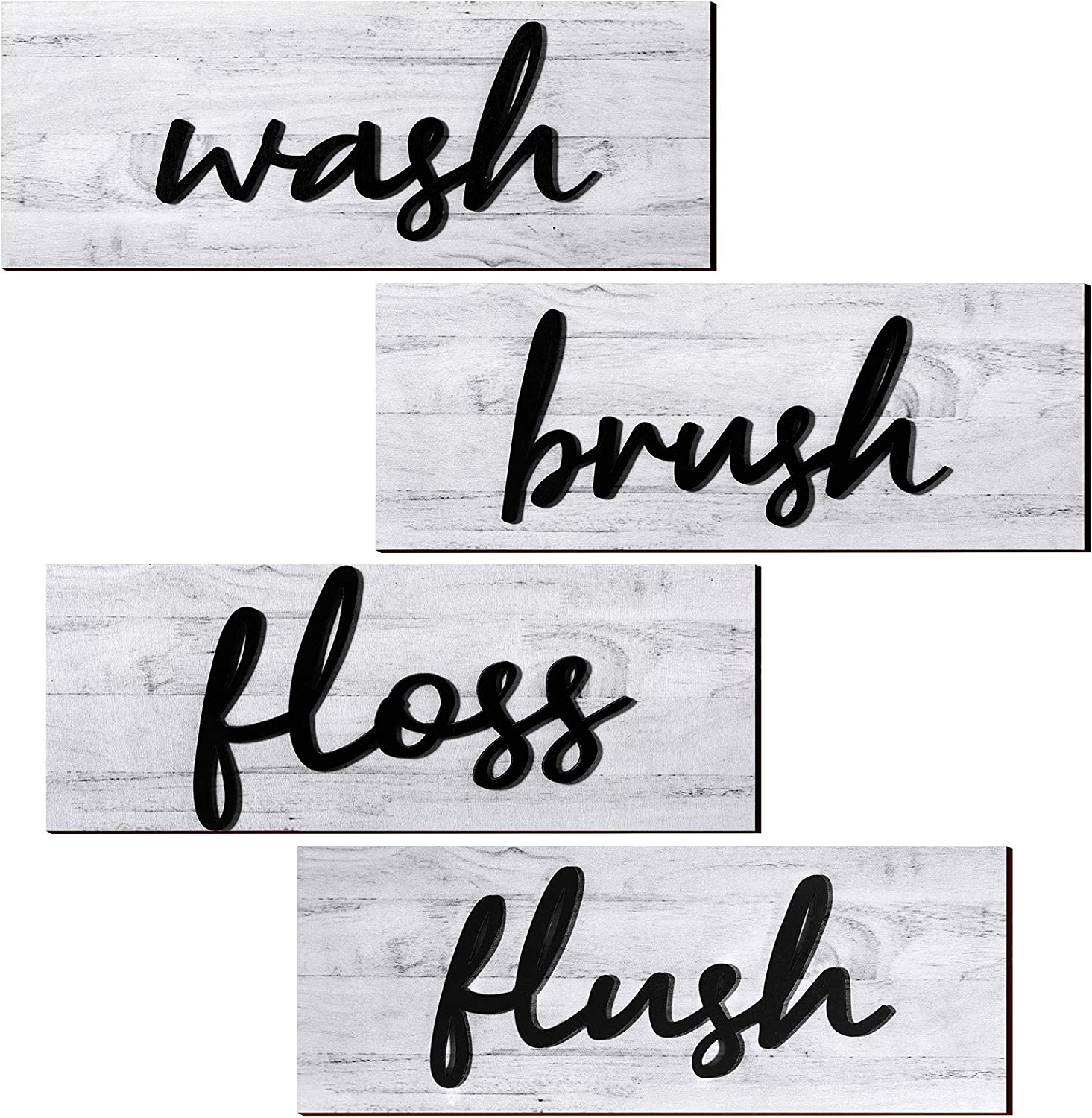 4 Pieces Farmhouse Bathroom Wall Decors Wash Brush Floss Flush Signs Rustic Hanging Wooden Signs Primitive Bathroom Wall Arts Vintage Wooden Decorations for Home Laundry Room Bathroom (White)