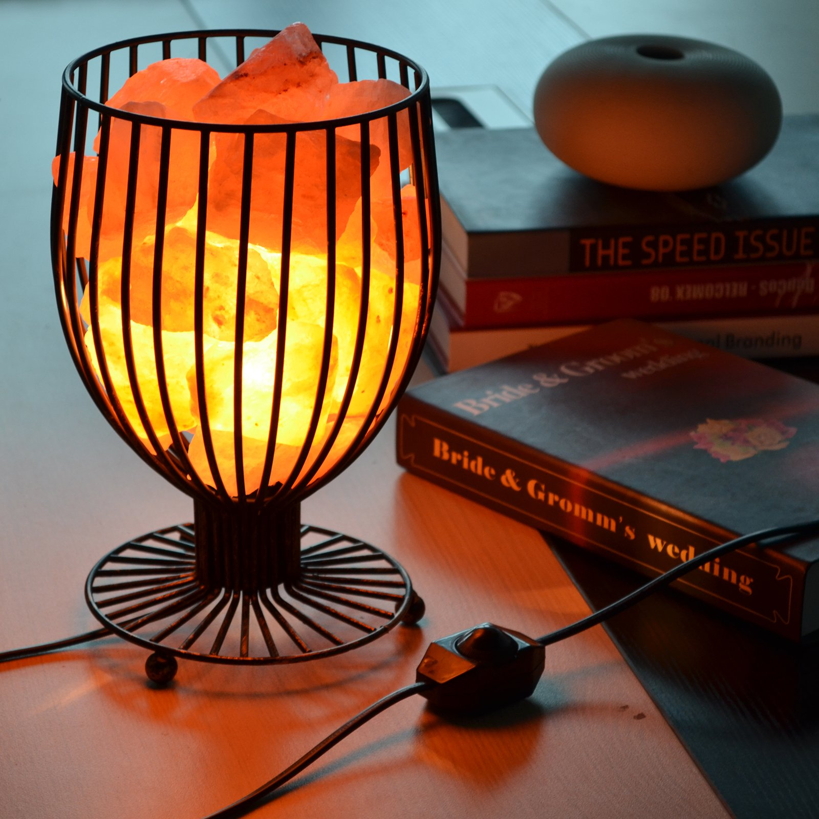 Maymii.Home 9.5'' Wine Glass Design Himalayan Salt Crystal Table Desk Lamp Light Lights with Salt Chunks in Heavy Duty Metal Basket Dimmer Switch, Bulb Include for Bedroom,Living Room Kitchen