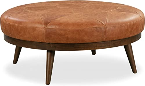 Poly and Bark Gio Modern Leather Ottoman Pouf Cognac Tan