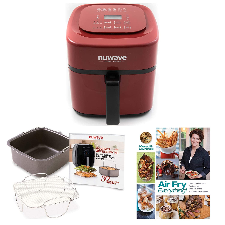 NuWave 37057 Brio Digital Air Fryer (6 qt, Red) w/NuWave 36223 2-piece Cooking Set for Brio Digital Air Fryer (3 qt) + Air Fry Everything Foolproof Recipes for Fried Favorites Cookbook