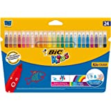 BIC Kids Kid Couleur Felt Tip Colouring Pens - Assorted Colours, Cardboard Wallet of 24