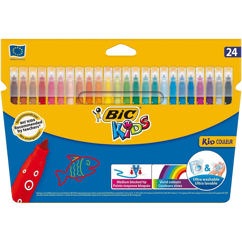 Ab 5 Jahren BIC Kids Fasermaler Kid Couleur 1 x 24 Kinder Filzstifte in lebendigen Farben auswaschbare Filzstifte Im Kartonetui