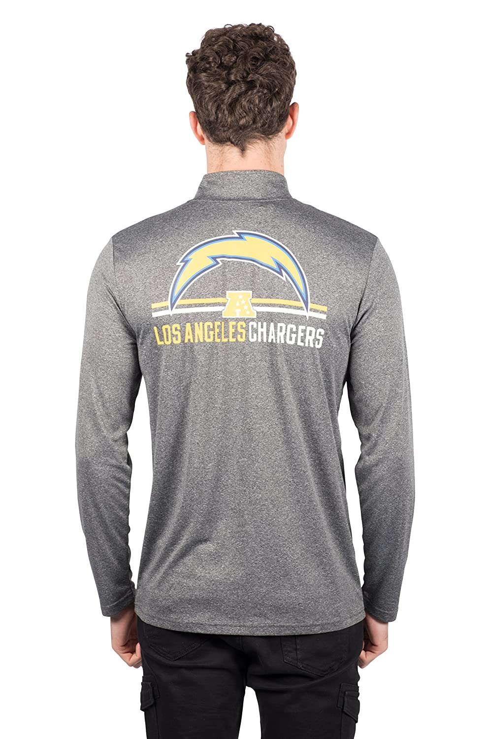 b18b22fd Ultra Game NFL Los Angeles Chargers Men's Quarter Zip Pullover Athletic  Quick Dry Long Sleeve Tee Shirt, Heather Charcoal, Medium