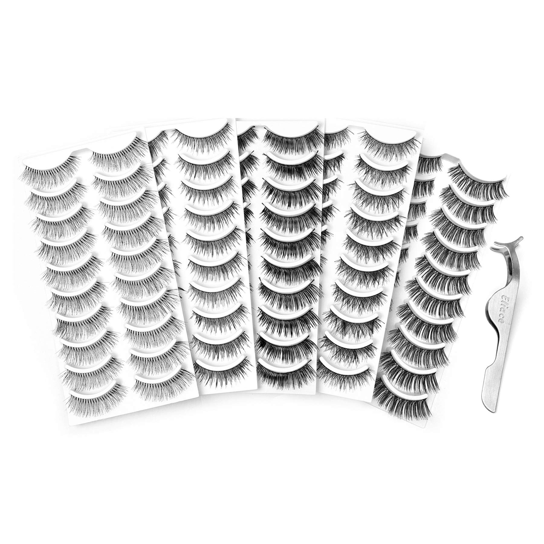 Amazon.com : Bememo 6 Pieces Tweezers Kit for Eyelashes ...