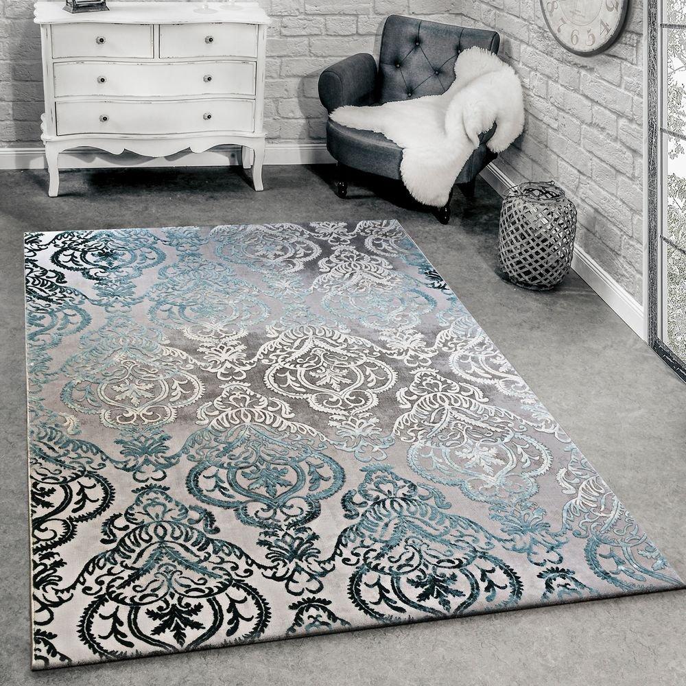 Paco Home Designer Teppich Moderne Ornamente Muster Wohnzimmerteppich Grau Blau, Grösse 160x230 cm