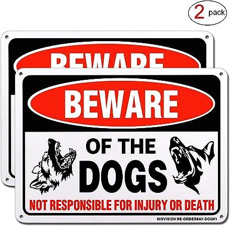 Amazon.com: Señal de advertencia para perro, de HISVISION, 2 ...