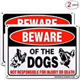 """HISVISION Beware of Dog Sign, 2 Pack 10""""x 7"""" Rust Free .40 Aluminum, UV Printed- Professional Graphics- Easy to Mount- Indoor Or Outdoor Use- Beware of Dog Warning Signs"""