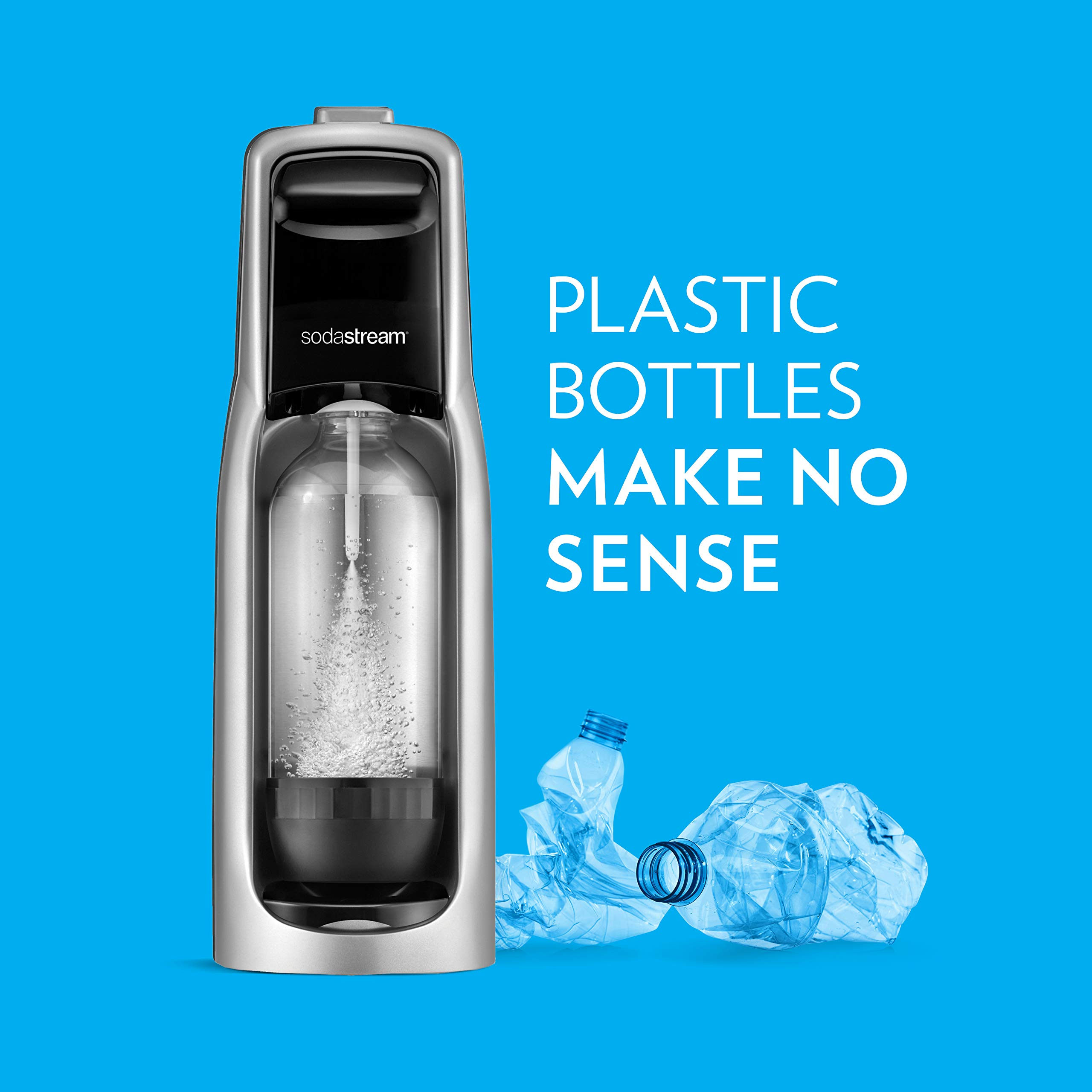 SodaStream Jet Sparkling Water Maker Bundle (Silver) with CO2, BPA free Bottles, and 0 Calorie Fruit Drops Flavors by sodastream (Image #6)