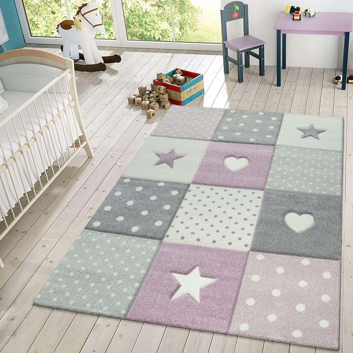 Gr/ö/ße:80x150 cm TT Home Kinder Teppich Spielteppich Karos Punkte Sterne Herzen Pastell Lila Grau