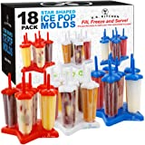U.S. Kitchen Supply Jumbo Set of 18 Star Shaped Ice Pop Molds - Sets of 6 Red, 6 White & 6 Blue - Reusable USA Colored Ice Pop Makers - Fill, Freeze & Serve Healthy Kids Treats