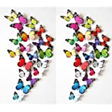 Prefer Green 38 PCS 3D Colorful Butterfly Wall Stickers DIY Art Decor Crafts (H-017 C)