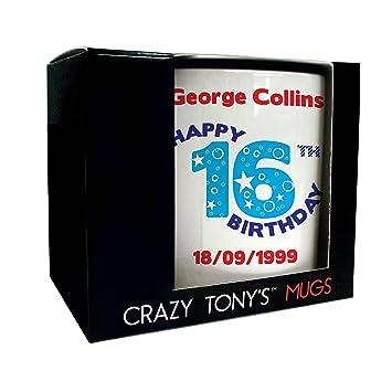 Amazon.com: Taza personalizada con 16º cumpleaños, Crazy ...