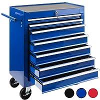 Arebos Chariot d'atelier / 7 Tiroirs / Verrouillable / 4 Roulettes / Tapis antidérapants / rouge, bleu ou noir (bleu)