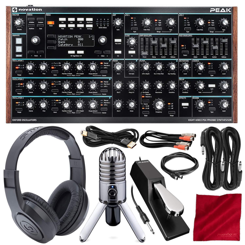 Novation Peak 8-Voice Desktop Polyphonic Synthesizer with Microphone & Headphones Bundle