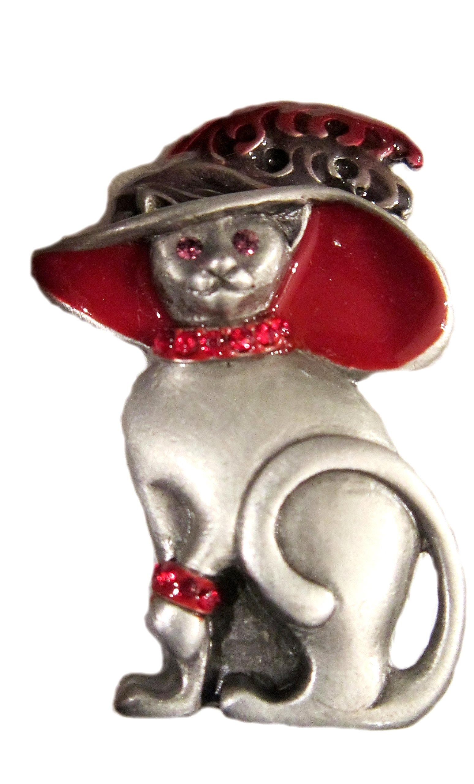 ''Mother Cat in Sunday Hat'' Magnetic Brooch