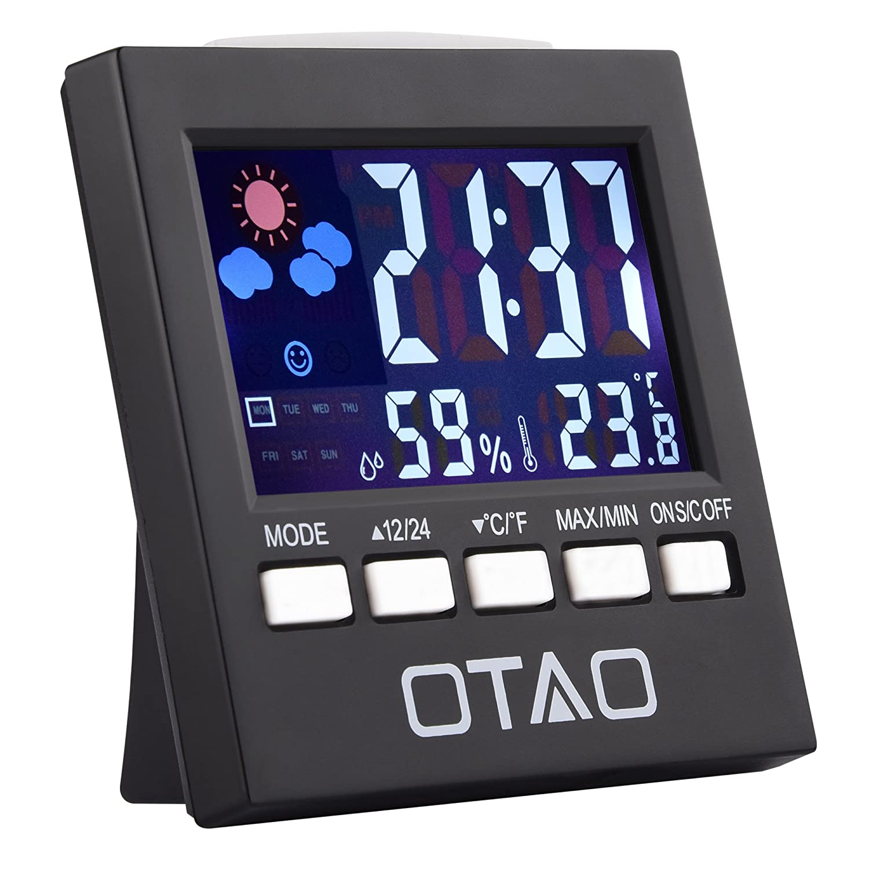 OTAO Room Digital Thermometer Color LCD Screen Humidity Gauge Multifunctional Humidity Meter Digital Hygrometer OS0001