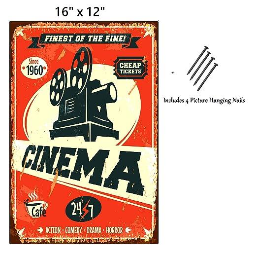 UNiQ Designs Cinema - Letrero de Metal Personalizado (30,5 x ...